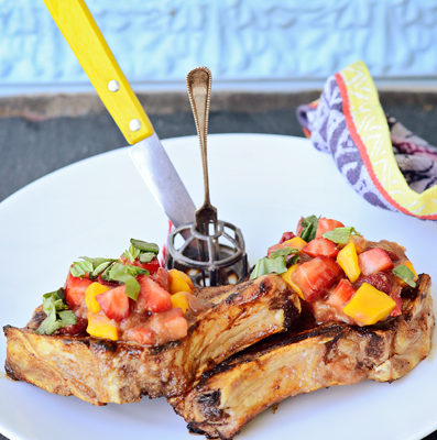 Brown Sugar Rubbed Pork Chops with Balsamic, Basil Rhuby-sauce