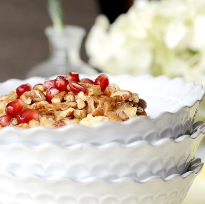 Overnight Orange Spiced Steel Cut Oats with Pomegranate and Orange-Blossom Honey