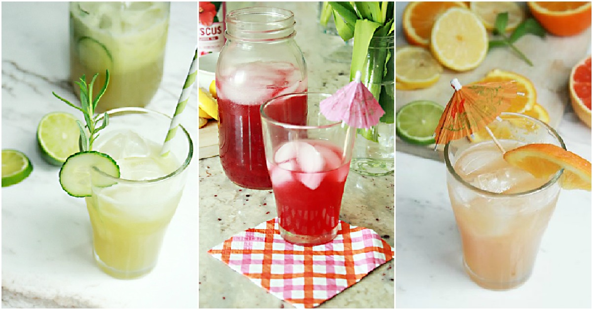 collage image of colorful drinks