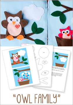 """Owl Family"" Felt Quiet Book Pattern"