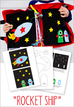 """Rocket Ship"" Felt Quiet Book Pattern"