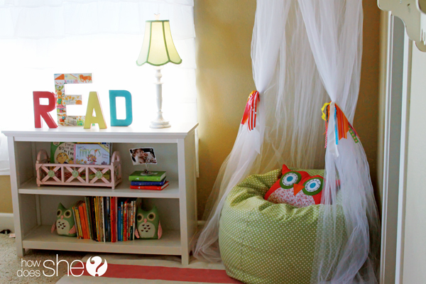 A Reading Nook with book shelf and beanbag chair