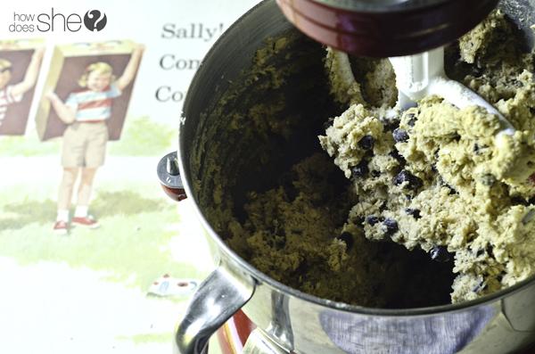 coconut chocolate chips cookies blending ingredients