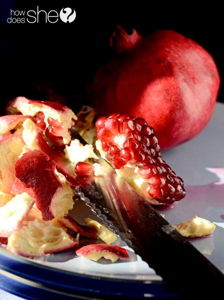 Pomegranates and Hazelnut chocolate sauce