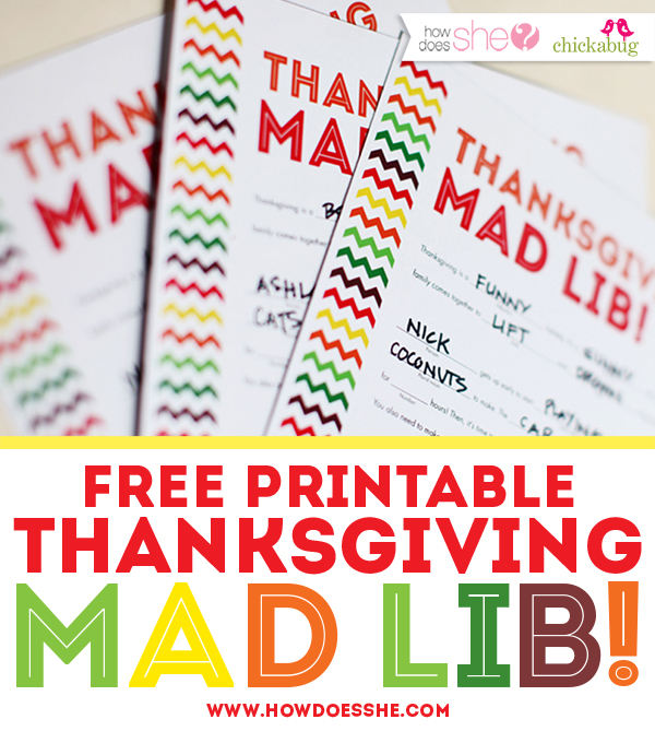 Free Thanksgiving Printables for Kids : Mad Lib Style