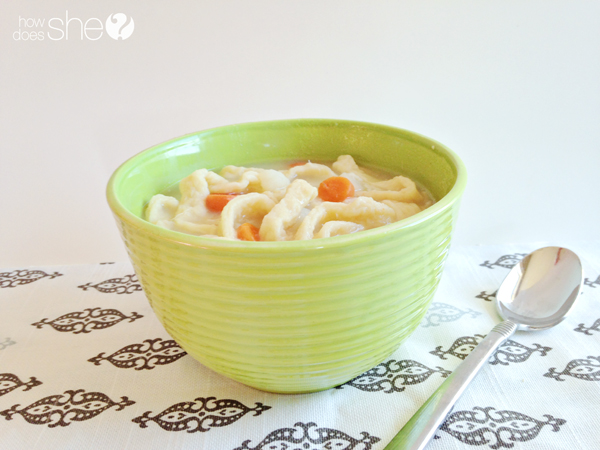Homestyle chicken noodle soup with handmade noodles
