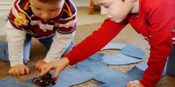 Easy DIY Road for Toy Cars…made out of your old JEANS!