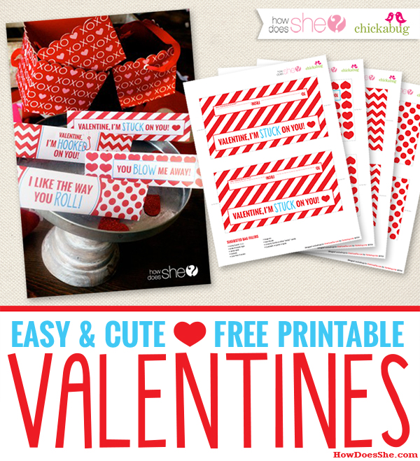 Exclusive FREE, Easy & Cute Printable: Valentine's Day Bag Toppers!
