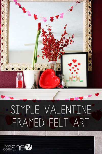 Simple Valentine Framed Felt Art