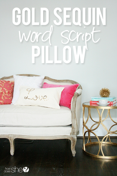 Darleen gold sequin word script pillow pinterest image