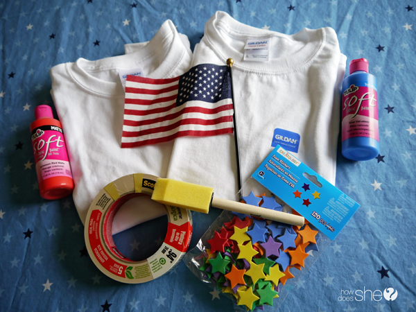 all decked out in red white and blue make a cute flag shirt with your kids. Black Bedroom Furniture Sets. Home Design Ideas