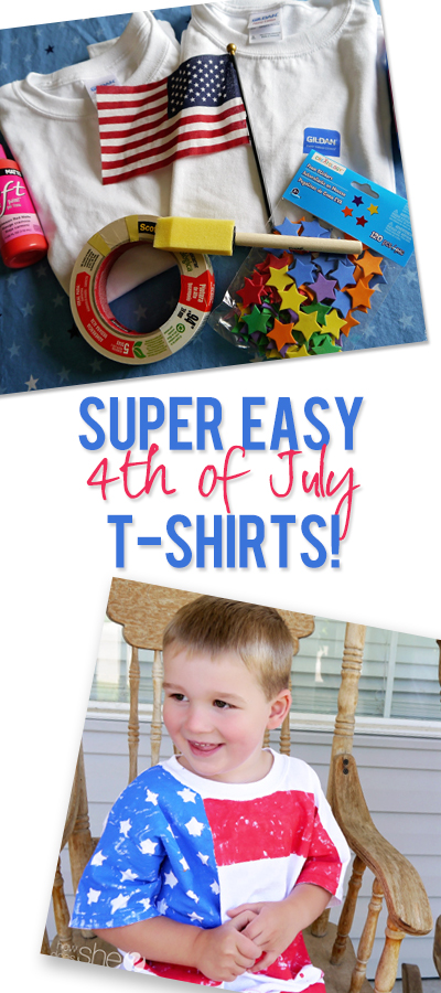 All decked out in red, white and blue! Make a cute flag shirt with your kids.