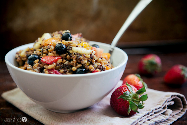 Whole Grain Fruit Salad with Flax Oil Dressing