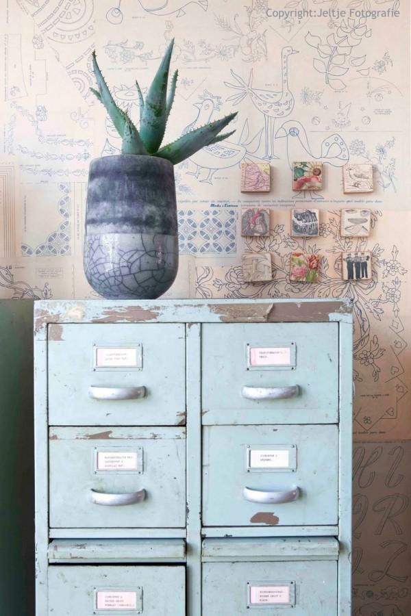 blue antique filing cabinet