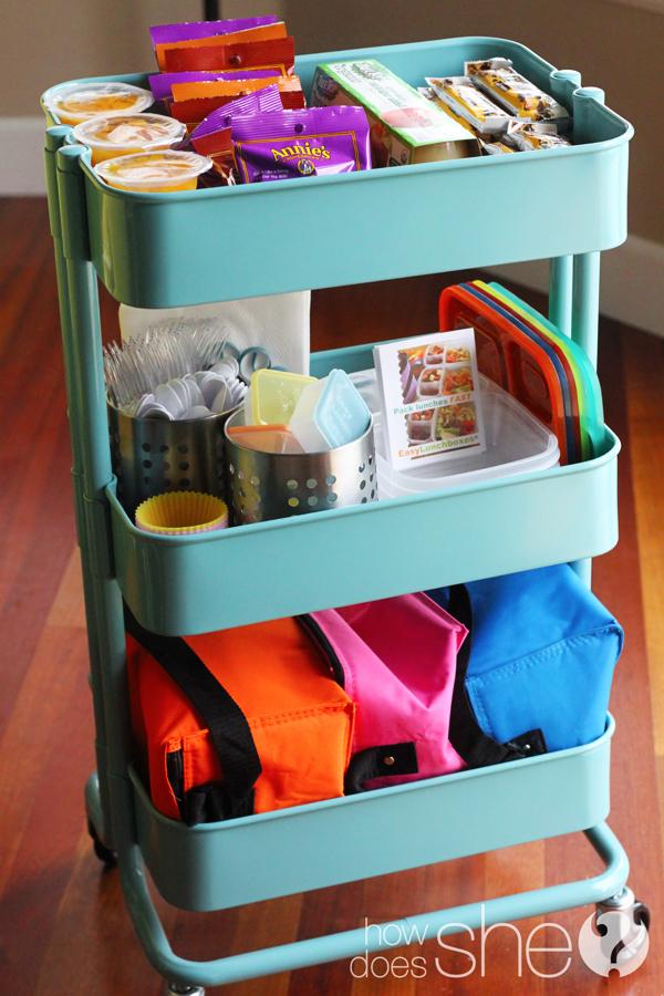 organized lunch box cart