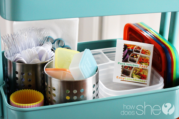 organizing lunch box components