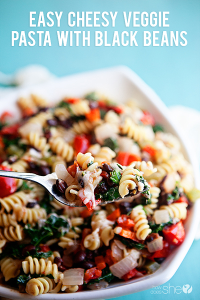 Easy Cheesy Veggie Pasta with Black Beans pinterest image