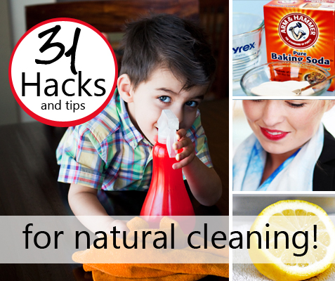 natural cleaning hacks collage