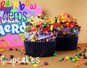 Rainbow nerds cupcakes