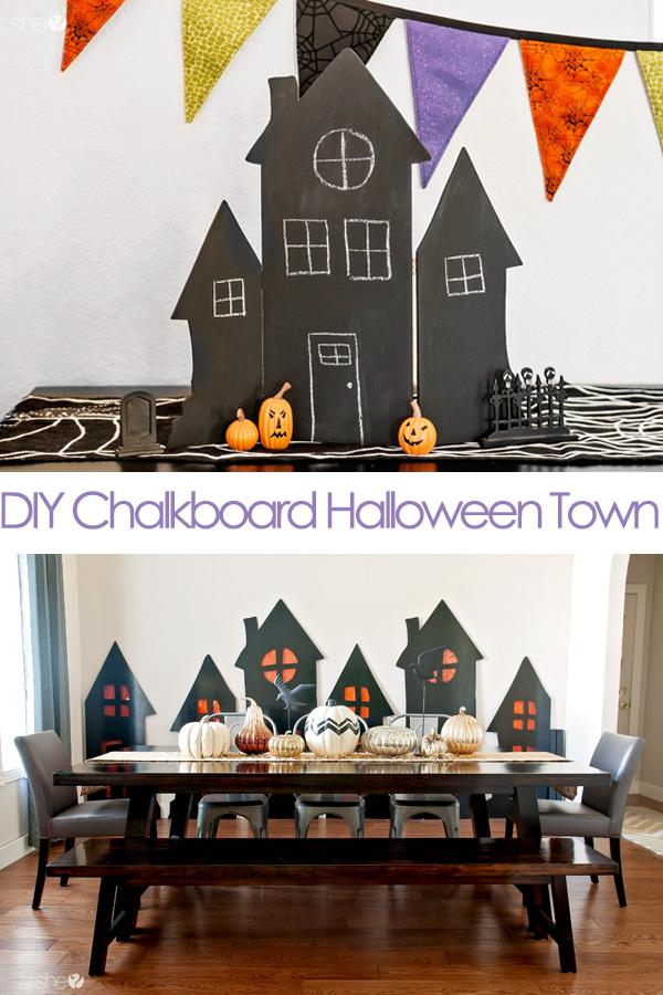 DIY Chalkboard Halloween Town