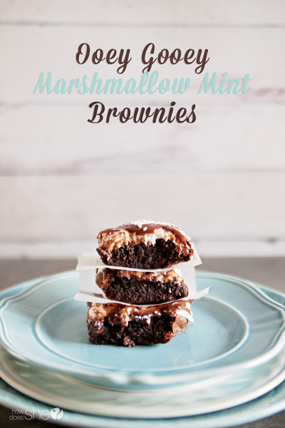 Ooey-Gooey Marshmallow Mint Brownies!