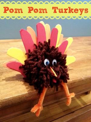 Easy-thanksgiving-craft-pom-pom-turkey