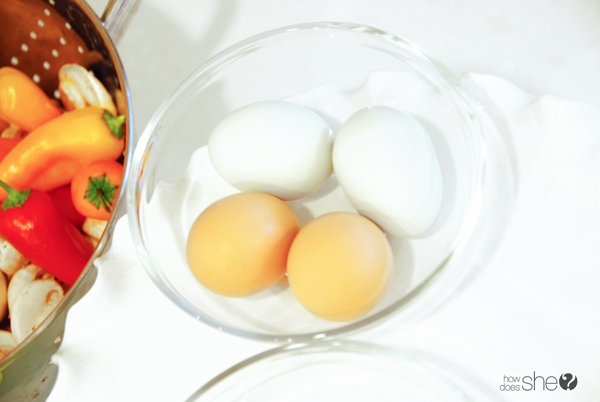 photo of eggs, peppers and mushrooms
