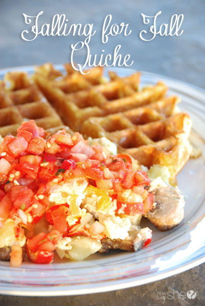 photo of fall quiche recipe with waffle cornbread