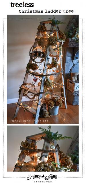 treeless Christmas ladder tree via Funky Junk Interiors.12 AM