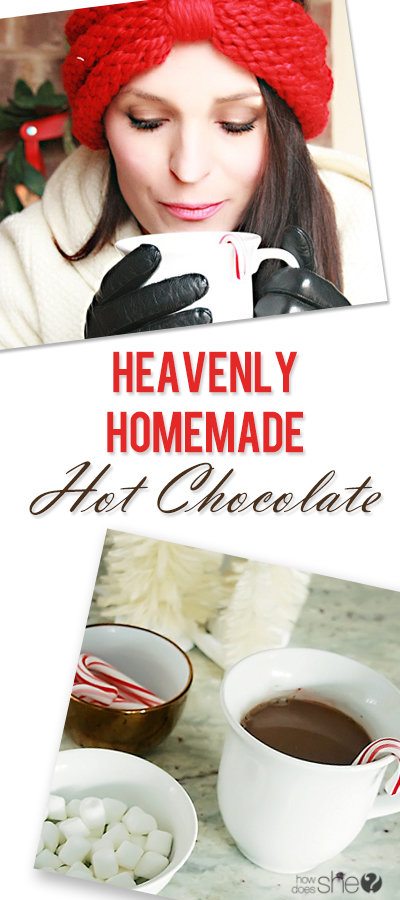 collage image of woman and hot chocolate using cacao powder