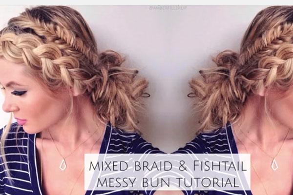Mixed Fishtail and Dutch Braid Messy Bun!