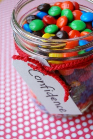 glass jar of m&ms