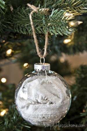 dropcloth filled ornament