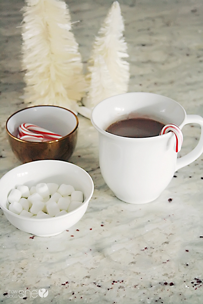 cup of hot chocolate, bowl of candy canes and bowl of marshmallows