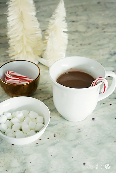 cup of hot chocolate using cacao powder , bowl of candy canes and bowl of marshmallows