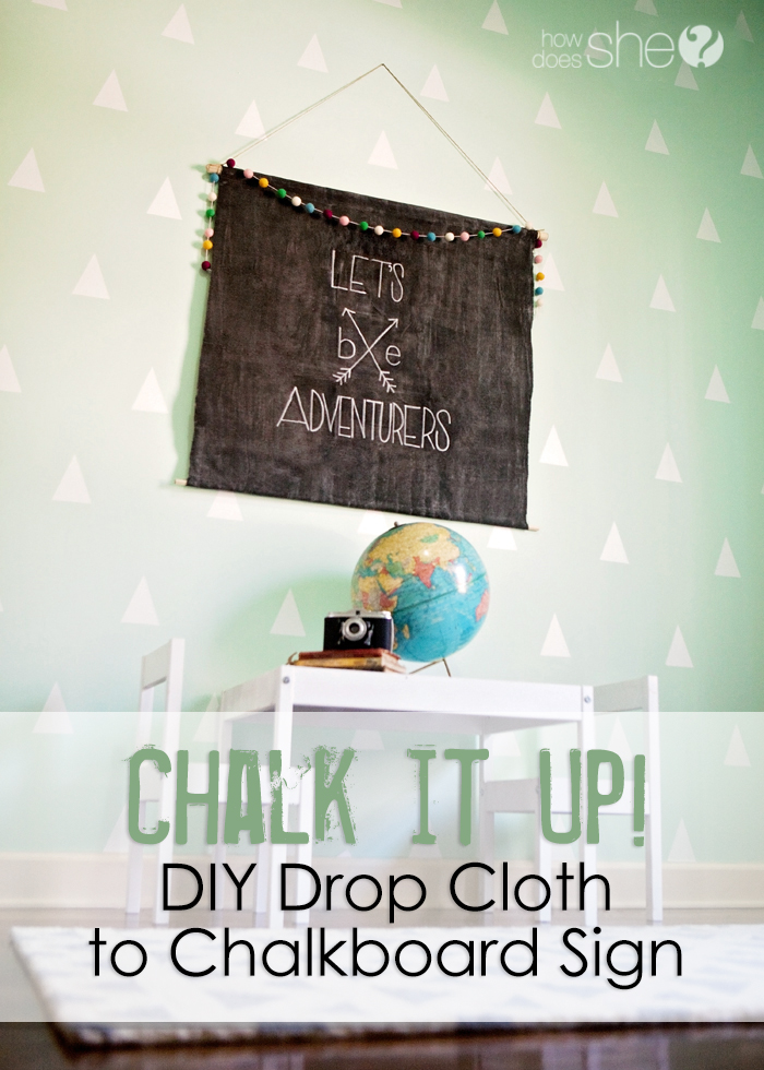 Chalk it Up! DIY drop cloth to Chalkboard Sign