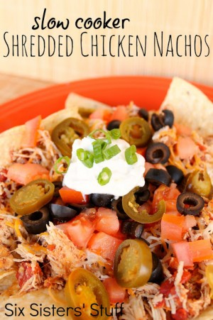 Slow Cooker Shredded Chicken Nachos