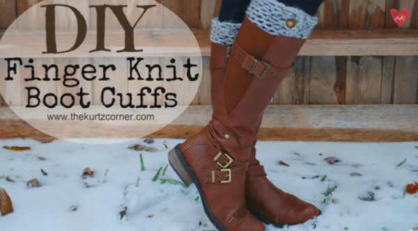 Finger knit boot cuffs