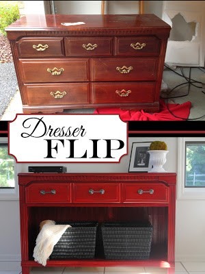 collage image of before and after dresser project