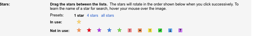 6. gmail stars