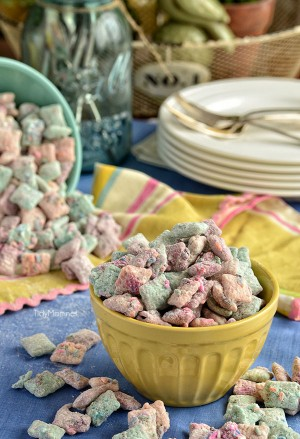 "Cake Batter ""Puppy Chow"" snack mix recipe at TidyMom.net"