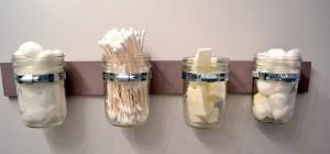 DIY mason jar bathroom containers