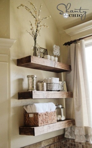 Organize bathroom shelving