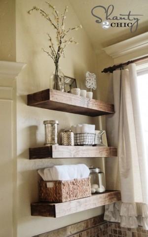 Organize bathroom shelving
