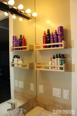 using spice racks to organize bathroom