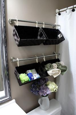 hanging baskets on bathroom wall