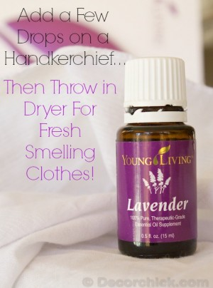 bottle of Young Living lavender oil and a handerchief