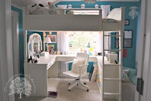 Teen Girls Bedroom With A Loft Bed