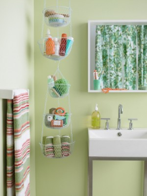 how to organize your bathroom using hanging storage