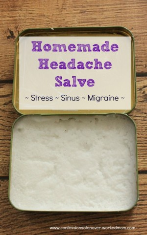 homemade headache salve using lavender oil in a tin